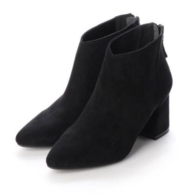 ヌエール nouer PECHINCHAR スエードタッチフレアヒールショートブーツ (ブラック)