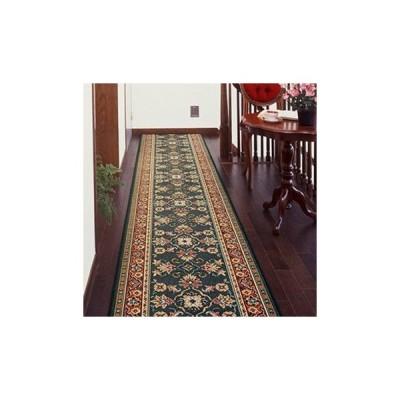 廊下敷き 廊下マット ベルギー製 廊下用絨毯 〜ラリスタン〜 グリーン 幅66cm×長さ180cm