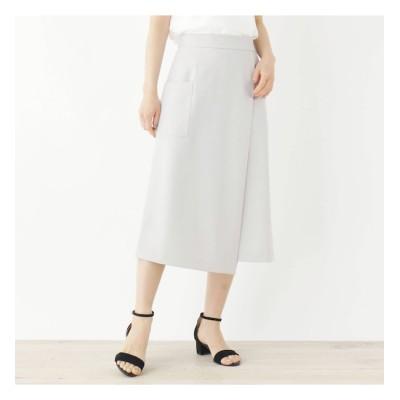 【インデックス/index】 【洗える・42(LL)WEB限定サイズ】ストレッチラップデザインナロースカート