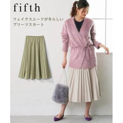 スカート ひざ丈 大きいサイズ レディース フェイク スエード プリーツ FIFTH グレージュ/ライトグリーン L/LL/3L ニッセン nissen