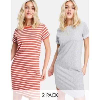 ジェイディーワイ JDY レディース ワンピース 2点セット ミニ丈 ワンピース・ドレス Exclusive 2 pack mini dress in red stripe and plain grey レッド/グレー