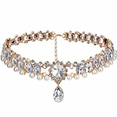YERTTER Boho Collar Choker Full Crystal Diamond Chunky Choker Rhinestones Pendant Choker Necklace for Bridal and Women Ladies Fe