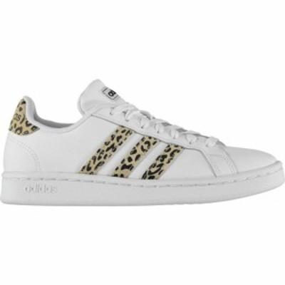 アディダス adidas レディース スニーカー シューズ・靴 Adidas Grand Court Trainers White/Leopard