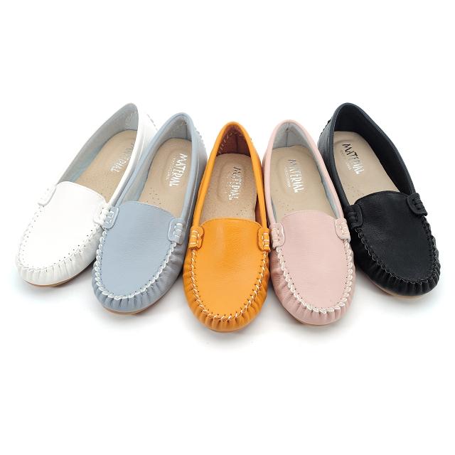 【101玩Shoes】MIT素面真皮乳膠鞋墊平底豆豆鞋-水藍色/白色/黑色/棕色 36-40碼