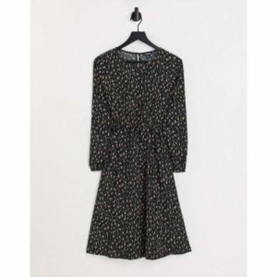モンキ Monki レディース ワンピース Aライン ミニ丈 ワンピース・ドレス Teres dot print ruched waist mini skater dress in black ブ