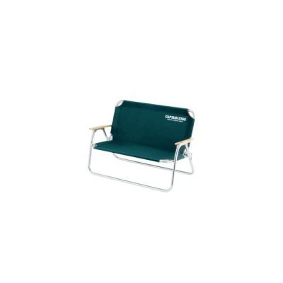 CS アルミ 背付きベンチ(グリーン) (AP00557 M-3882) ベンチ 二人掛け 折りたたみ チェア イス いす 椅子 チェアー 背もたれ付き CAPTAIN STAG(QBJ37)