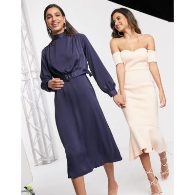 クローゼット ミディドレス レディース Closet London high neck belted midi dress in navy エイソス ASOS ネイビー 藍