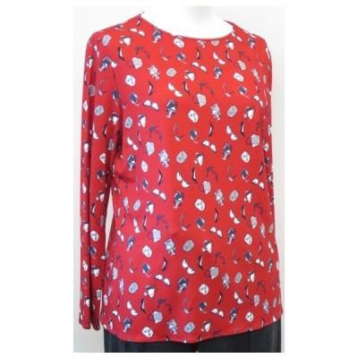 YUKI TAKASEレーヨンプリント長袖Tシャツ 赤