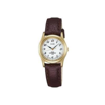 セイコー スポーツウォッチ 10気圧防水 レディース アナログ ソーラー 腕時計 おしゃれな ゴールド 金 (AL17P-1711) ブラウン レザー 革バンド ドレスウォッチ
