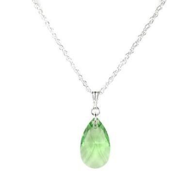 ネックレス ジュエリーバイダウン Jewelry by Dawn Small Green Pear Crystal and Sterling Silver Necklace