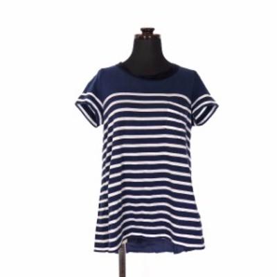 【中古】サカイラック sacai luck バックフレア ボーダー Tシャツ カットソー 半袖 3 ネイビー 紺 14AWLU802