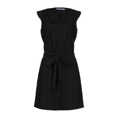 EUROPEAN CULTURE ミニワンピース&ドレス ブラック L コットン 95% / キュプラ 5% ミニワンピース&ドレス