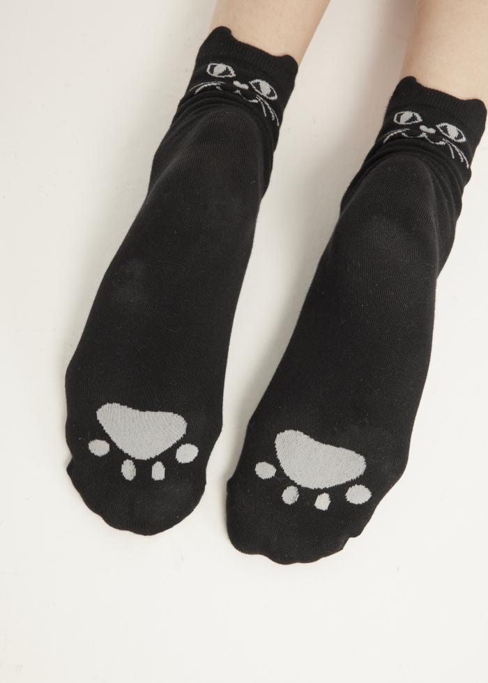 Meow.貓耳造型低筒襪(黑色)