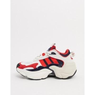 アディダス レディース スニーカー シューズ adidas Originals magmur runners in white & red White & red