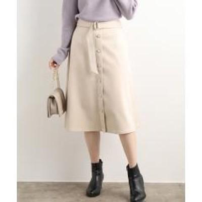 ビスエコスエードボタンフレアースカート【お取り寄せ商品】