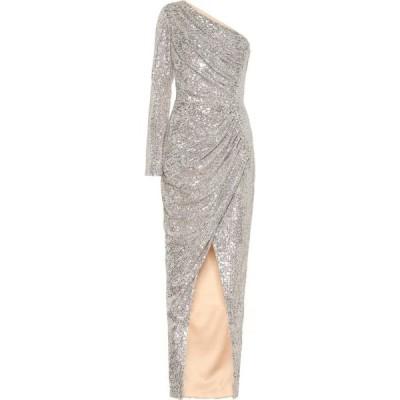 ロサリオ RASARIO レディース パーティードレス ワンショルダー ワンピース・ドレス One-shoulder sequined gown Silver