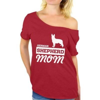 レディース 衣類 トップス Awkward Styles Women's German Shepherd Mom Graphic Off Shoulder Tops T-shirt Dog Lover Tシャツ