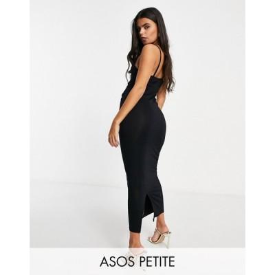 エイソス ASOS Petite レディース ワンピース キャミワンピ ワンピース・ドレス Asos Design Petite Cami Cowl Neck Maxi Dress ブラック