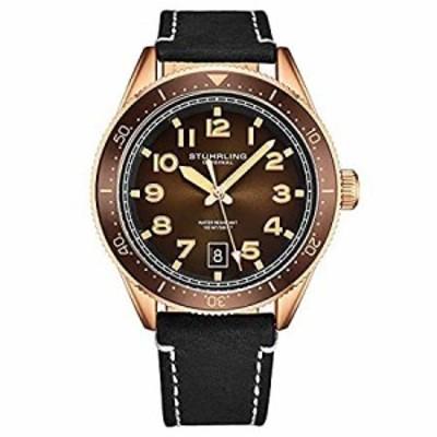Stuhrling オリジナルメンズレザードレスウォッチ 航空アナログウォッチ 日付付きレザーストラップ メンズ腕時計 ローズゴールド/ブラッ