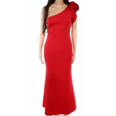 Betsy & Adam ベッツィアンドアダム ファッション ドレス Betsy & Adam NEW Red Womens Size 2P Petite Gown One-Shoulder Dress