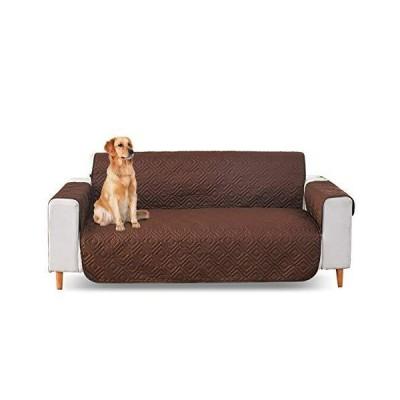 PETCUTE ソファカバー 肘付き シンプル 犬猫対策 ソファー保護カバー 軽度防水 洗える 四季適用 脱着やすい ダークコーヒー 一人掛
