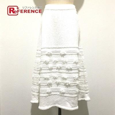 CHANEL シャネル P60743K46373 19C 編込み刺繍 CCココロゴボタン ロングスカート ホワイト レディース  未使用【中古】