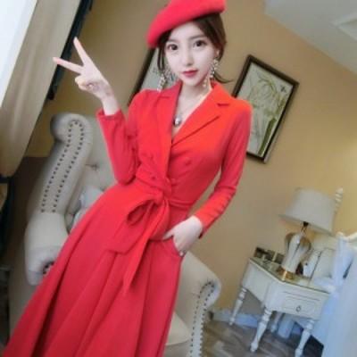 レディースファッション 女性の赤いドレスエレガントなダブルブレストサッシ女性Vestidos Wear to Businessハイstreeデザインシ