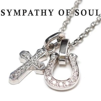 シンパシーオブソウル ネックレス  ホースシュー スムースクロス ジルコニア SYMPATHY OF SOUL Horseshoe CZ × Cross CZ × Silver Square Chain 1.6mm