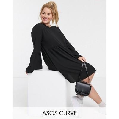 エイソス レディース ワンピース トップス ASOS DESIGN Curve fluted sleeve smock mini dress in black Black
