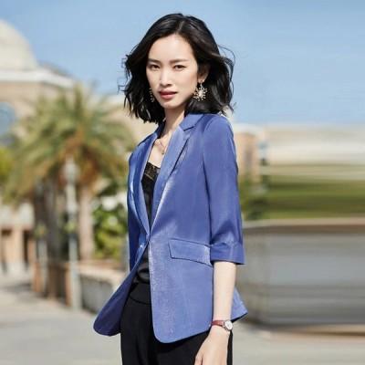 7分袖 テーラードジャケット レディース 薄手 サマージャケット 通勤 OL オフィス ホワイト ブラック スーツジャケット 大きいサイズ 4色