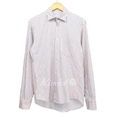 steven alan 襟ねじれデザイン ストライプシャツ オレンジ×ブルー×ホワイト サイズ:XS (新潟紫竹山店) 190228