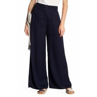ファッション パンツ mo:vint Womens Pants Navy Blue Size Medium M Wide-Leg Shirred-Waist #792