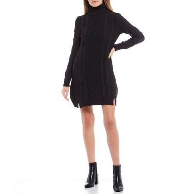 ミッドナイト ドール レディース ワンピース トップス Long-Sleeve Turtle-Neck Slit Hem Cable Sweater Dress