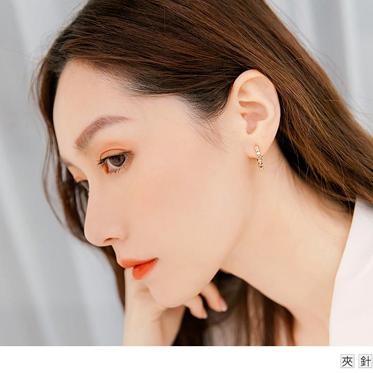 質感光澤金屬方塊耳環耳針耳夾