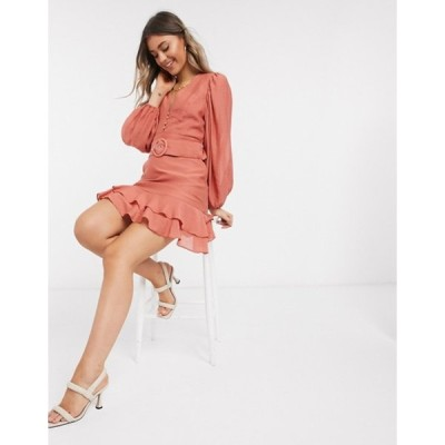エイソス レディース ワンピース トップス ASOS DESIGN batwing button front mini dress with frill hem and belt in rust