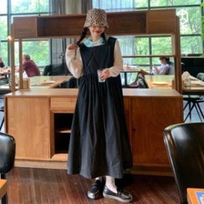ワンピース ブラウス 2点セット ロング丈 ミモレ丈 バックゴムデザイン 無地 シンプル トップス 襟付き 長袖 セットアイテム 20代 30代