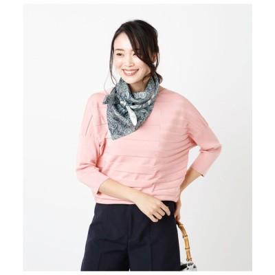 ニューヨーカー NEWYORKER 【ホールガーメント】シャドーボーダー ドルマンスリーブこなれニット (ピンク)