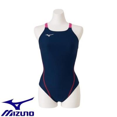 ◆◆送料無料 メール便発送 <ミズノ> MIZUNO 競泳練習用ミディアムカット[レディース] N2MA8261 (87:ネイビー×ローズ) フィットネス