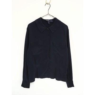 レディース 古着 90s Ralph Lauren ラルフ 丸襟 開襟 シルク 長袖 シャツ 紺 L位 古着