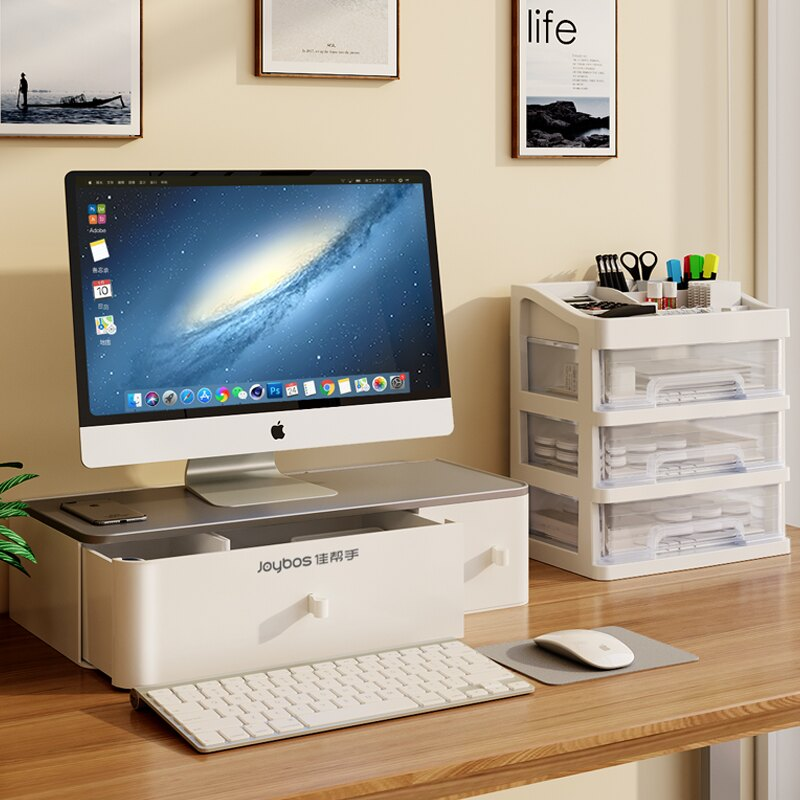 桌上螢幕架 螢幕增高架 電腦螢幕架 電腦顯示器增高架桌面收納盒辦公室桌增高底座整理抽屜置物『xy4476』
