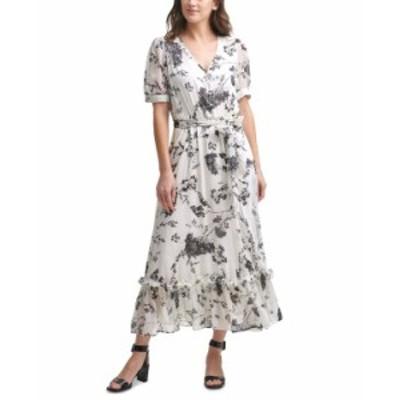 カルバンクライン レディース ワンピース トップス Floral-Print Chiffon Maxi Dress Cream/Black