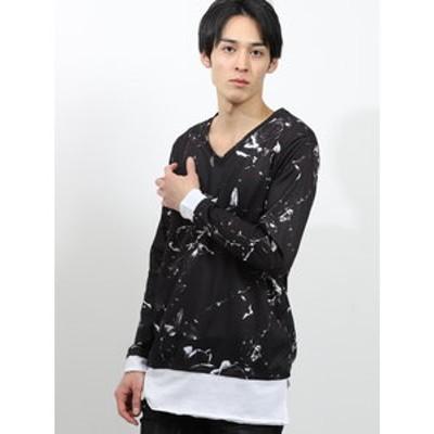 シェラック/SHELLAC 総柄グラフィックVネック長袖Tシャツ