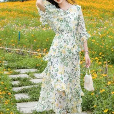 アシンメトリー ワンピース レディース ロングワンピース  クルーネック 花柄 七分袖 ゆったり 大人可愛い フレア 春夏 休日 お出かけ