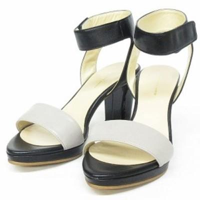 【中古】アキアゴーラペヂード aqui agora pedido サンダル アンクルストラップ ヒール 靴 グレージュ×黒 22.5cm