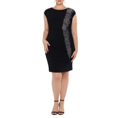 エスケープ レディース ワンピース トップス Beaded Inset Scuba Crepe Cocktail Dress (Plus Size) BLACK/NUDE