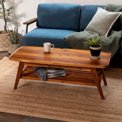 センターテーブル ローテーブル 木 ナチュラル リビングテーブル 木製 天然木 アカシア ブラウン シンプル 91466