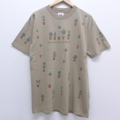 古着 半袖 ビンテージ Tシャツ 90年代 90s 植木 コットン クルーネック USA製 緑系 グリーン spe Lサイズ 中古 メンズ Tシャツ 古着
