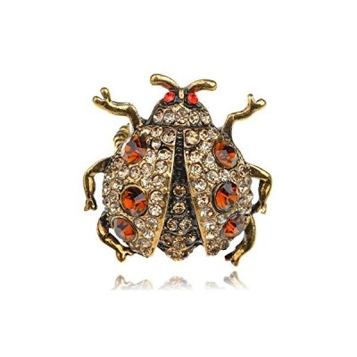 Alilang Chubby Big Golden Tone Light Topaz Beetle Insect Bug Crystal Rhines