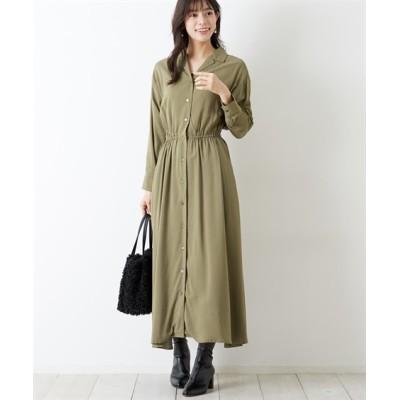 通勤におすすめ♪ 開襟シャツワンピース (ワンピース)Dress