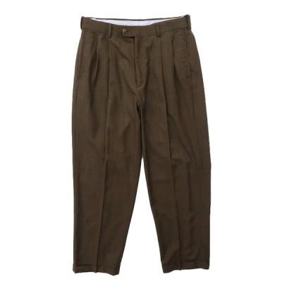 スラックス パンツ ツータック ブラウン サイズ表記:W32L30